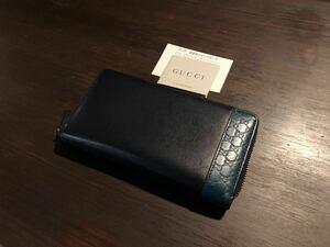 【美品】 グッチ GUCCI マイクログッチシマ ミストラル ブラック×ブルー 長財布 ラウンドファスナー カード入れ 小銭入れ付 307993 レザー