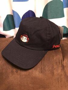 男女兼用 新品 正規品 不二家 ペコちゃん 刺繍 キャップ 帽子 cap ブラック 黒 ミルキー fujiya peko milky /検索 シュプ