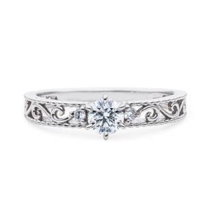 【極上】プラチナ pt900 ダイヤモンド 最上級 エクセレントカット!0.376ct H-SI2-Excellent(H&C) リング 指輪【鑑定付】