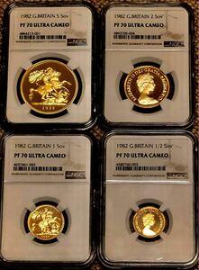 イギリス金貨 1982 全てPF70UC 4枚セット 特年 ヤングエリザベス ケース付 発行枚数2500セット