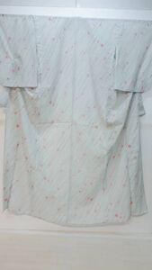 夏物 単衣 絽の化繊 水色の地色に斜め線が雨の様な柄 なでしこのピンクが華やか☆