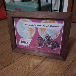 北川モータース ライナー号 昭和レトロ 額装品 カタログ 絶版車 旧車 バイク 資料 インテリア 送料込み