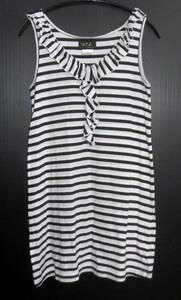 日本製 agnes b. アニエスベー ボーダー柄 襟フリル ノースリーブ シャツ チュニック 2 黒×白