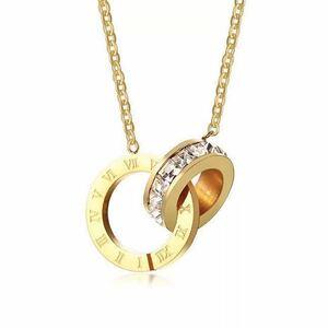 18kゴールド鍍金 CZダイヤクリスタルローマ数字リングチョーカー ネックレス