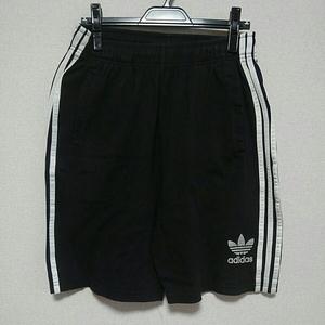 adidas ショートパンツ 黒白 銀ロゴ スウェット ハーフパンツ トレフォイル 90sビンテージ
