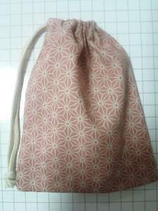 巾着袋◆麻の葉柄 赤【約よこ12cm×たて13.5cm】 送¥84 鬼滅の刃 古典柄 和柄