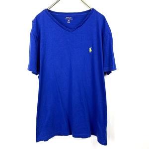 ポロ ラルフローレン Vネック Mサイズ ワンポイント 半袖 カットソー POLO Ralph Lauren メンズ Tシャツ ブルー 青