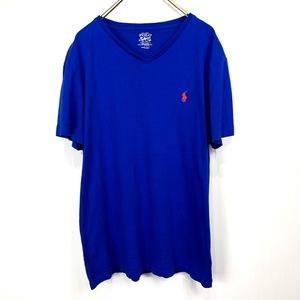 ポロ ラルフローレン Vネック Mサイズ ワンポイント 半袖 カットソー POLO Ralph Lauren メンズ Tシャツ ブルー 青 オレンジ
