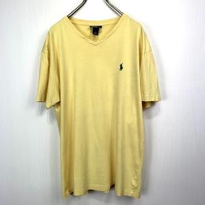 ポロ ラルフローレン Vネック Mサイズ ワンポイント 半袖 カットソー POLO Ralph Lauren メンズ Tシャツ イエロー 黄色