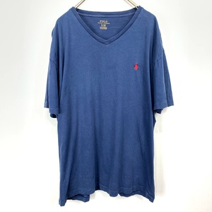 ポロ ラルフローレン Vネック Lサイズ ワンポイント 半袖 カットソー POLO Ralph Lauren メンズ Tシャツ ネイビー 紺
