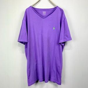ポロ ラルフローレン Vネック Lサイズ ワンポイント 半袖 カットソー POLO Ralph Lauren メンズ Tシャツ パープル 紫 ラベンダー