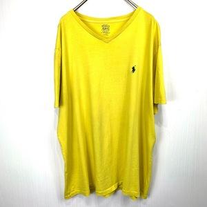 ポロ ラルフローレン Vネック XLサイズ ワンポイント 半袖 カットソー POLO Ralph Lauren メンズ Tシャツ イエロー 黄色
