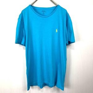 ポロ ラルフローレン Sサイズ ワンポイント 半袖 カットソー POLO Ralph Lauren メンズ Tシャツ ライトブルー 青 水色