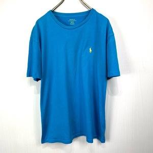 ポロ ラルフローレン Mサイズ ワンポイント 半袖 カットソー POLO Ralph Lauren メンズ Tシャツ ライトブルー 水色