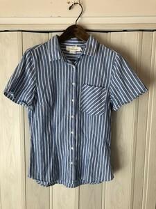 ◆H&M/L.O.G.G/ストライプ柄/ブルーの半袖シャツ◆n