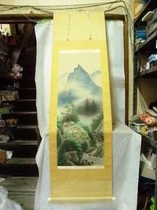 激安スタート 彩色山水画 掛軸 茶道具 骨董 *う3865