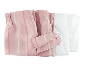 A2331■訳あり ドレープカーテン 3級遮光 刺しゅう & レースカーテン 4枚組セット 幅100x180cm ストライプ柄 ピンク系