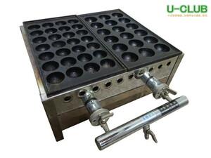 ◇IE0101|業務用 たこ焼き器 都市ガス 18個×1連 28個×1連 W400×D350(500)×H195mm 厨房用 中古