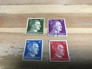 ヒットラーの使用済み切手4色セット ドイツ 第三帝国 ナチス 。