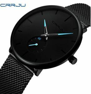 Crrju ファッションメンズ腕時計トップブランドの高級クォーツ時計男性カジュアルスリムメッシュ鋼防水スポーツウォッチレロジオ 152