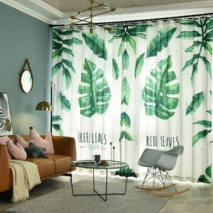 new goods curtain width 150 centimeter 2 sheets set monstera plant summer. atmosphere stylish green leaf .. decoration