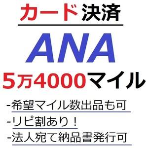 ANA54000マイル加算●国内線や国際線特典航空券予約発券や提携施設利用に/ANA5万4000マイル/ANA54,000マイル/マイレージ/カード決済許可/施