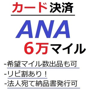 ANA60000マイル加算●国内線や国際線特典航空券予約発券や提携施設利用に/ANA6万マイル/ANA60,000マイル/マイレージ/カード決済許可/施