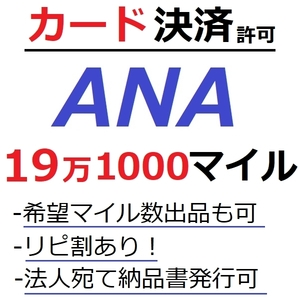 ANA191000マイル加算●国内線や国際線特典航空券予約発券や提携施設利用に/ANA19万1000マイル/ANA191,000マイル/マイレージ/カード決済許可