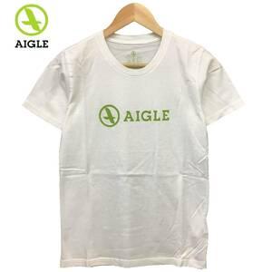 未使用品 AIGLE エーグル THINK GREEN ロゴ プリント 半袖 Tシャツ カットソー アウトドア 登山 ホワイト 白 XS