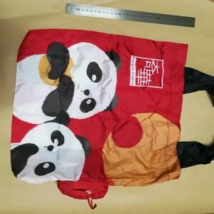 ★ エコバッグ 新品 トートバッグ  香港 奇華餅家 折り畳みエコバッグ 赤色 エコバッグ パンダ