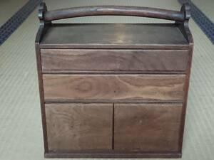 不精箱 無精箱 木製 小引出し 小物入れ 時代物 古民家家具 木箱 収納 幅約285㎜ 奥行約155㎜ 高さ約308㎜ 【2124】
