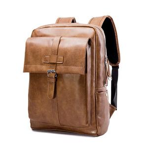 #7223 【ブラウン】 PUレザーバックパック ビジネスリュック メンズ鞄 リュックサック バッグ 通勤対応 A4収納 カジュアル 【10020009#2】
