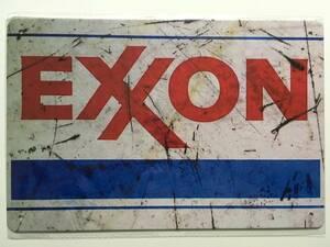 ブリキ看板 20×30cm EXXON エクソンモービル アメリカンガレージ アンティーク 雑貨 ★TINサイン★