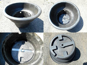 中古 軽量 頑丈 大型鉢 特殊鉢 水溜 分離網付 オーバーフロー用1穴 メダカ飼育