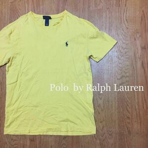 90s 〈Polo by Ralph Lauren〉ポロ ラルフローレン ◇ メンズ size S / 黄色系 半袖 Tシャツ トップス ロゴ刺繍 シンプル☆//USA古着
