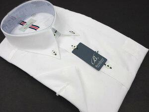 【新品】L-41 Brinkers 綿100% 形態安定 半袖シャツ ボタンダウン 白無地 貝ボタン