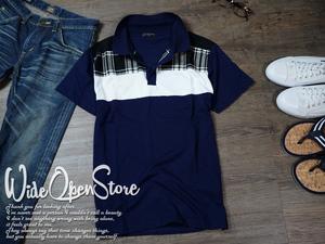 【新品】 ポロシャツ 切替デザイン 天竺ポロ ■ Lサイズ / ネイビー紺② ■ 綿100% チェック柄 半袖 ポロ i7403