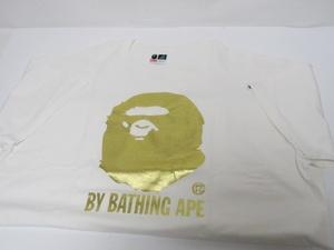 A BATHING APE アベイシングエイプ BAPE ゴールド 大猿 プリント Tシャツ 白 大サル 金【XL】国内正規品 USED品 クリーニング済み