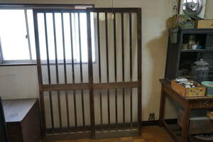 # rare # old # wooden entranceway # sliding door # molding glass # store fittings # warehouse # storage room #2 sheets set #