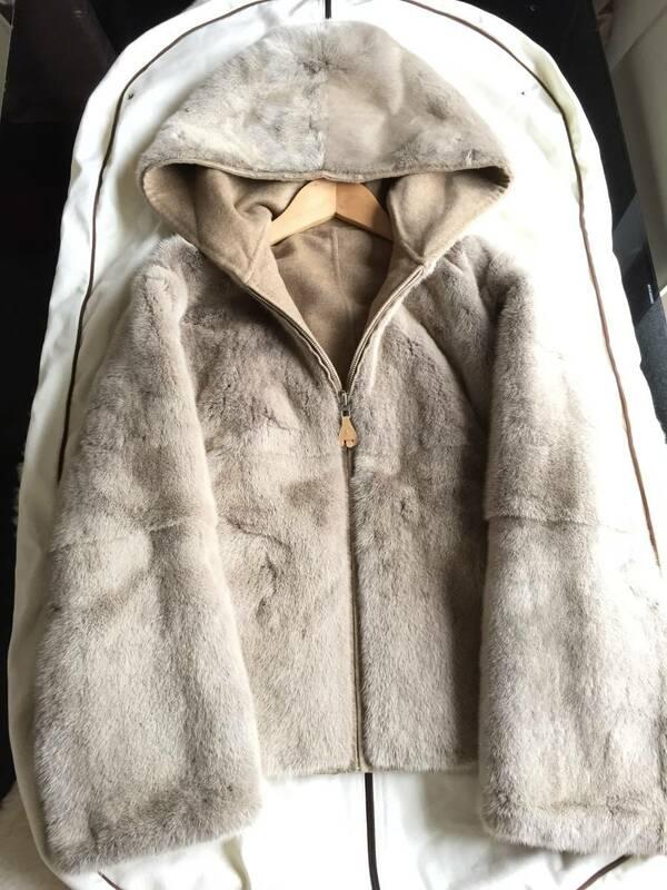 即決 新品同様 タグ付 HERMES エルメス 最高峰ミンクファー毛皮フーデッドコート(ライナー:カシミヤ100%)☆34サイズ