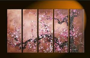 【受注制作】アートパネル 『桜の木』 30x90cm x 5枚組 肉筆 桜 サクラ