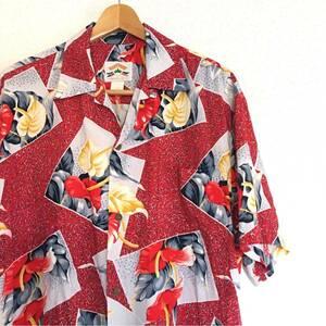 ハワイアン!【PINEAPPLE JUICE】アロハシャツ M ビンテージ パイナップルジュース 総柄 古着 USA製 ALOHA アメカジ ハワイ 開襟 柄シャツ