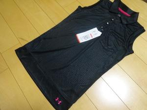 アンダーアーマー サイズSM ノースリーブ ポロシャツ シャツ 光沢黒地にピンク タグ付き ヒートギア ゴルフ テニス アウトドア