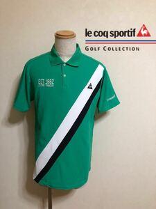 【美品】 le coq sportif GOLF COLLECTION ルコック ゴルフ ドライポロシャツ ウェア トップス サイズLL 半袖 グリーン デサント QG2693