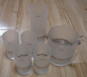 ◆ pierre cardin ピエールカルダン ◆ グラス 4個 水差し アイスペール 水割り セット ガラス ◆ 中古品 ◆