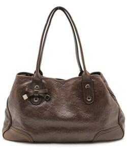 GUCCI グッチ ◇ シマ ライン レザー GG 柄 リボン ハンド トート バッグ 鞄 かばん ◇ セミ ショルダー