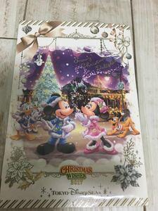 TDS 東京ディズニーシー 限定 2017年 クリスマス 缶バッジ*ポストカード ミッキー ミニー