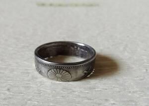 21号サイズ コインリング  指輪 新品 未使用 送料無料  (9617) ハンドメイド アンテーク 古銭 貨幣 硬貨 手作り 菊の紋章
