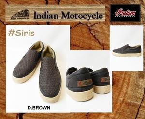【新品】インディアンモーターサイクル スニーカー スリップオン 26cm Siris  / IND-11503 ダークブラウン 検 靴シューズ@BS@