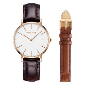 2年保証 正規品 送料無料 POLICE ポリス 腕時計 15304BSR ステンレス レザー 替えベルト メンズ レディース ゴールド ブラウン クォーツ